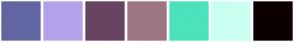 Color Scheme with #6166A3 #B3A2EA #674461 #9D7583 #4BE3BB #CBFFF1 #0D0000
