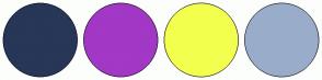Color Scheme with #283658 #A238C5 #F3FF4E #99ADCB