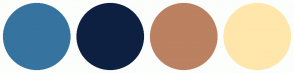 Color Scheme with #36749F #0E2042 #BB8161 #FFE6AB