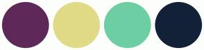 Color Scheme with #5E2958 #E1DA86 #6DCEA3 #132138