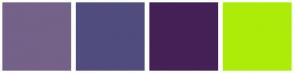 Color Scheme with #746289 #514C7E #442056 #ADEC09