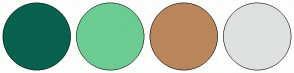 Color Scheme with #08614E #6CCC93 #BA865C #DEE0E1