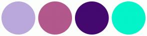 Color Scheme with #BAA8DB #B2588C #44086F #02F4C9