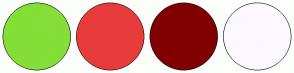 Color Scheme with #84DF38 #E83C3C #810101 #FCF8FF