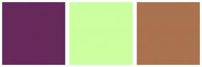 Color Scheme with #66295A #CBFFA0 #AA724F