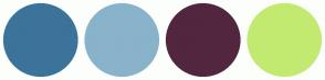 Color Scheme with #3C739A #89B3CA #52263F #C3EA70