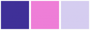 Color Scheme with #3F3098 #EE7ED7 #D5CDF0
