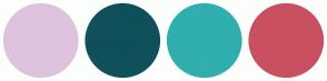 Color Scheme with #DDC3DE #0F505A #31AEAE #C95061