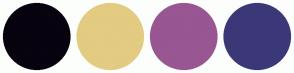 Color Scheme with #07030F #E3CB82 #985693 #3B3878