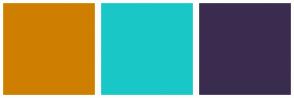 Color Scheme with #CE7F00 #1AC7C7 #3A2C4F
