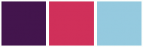Color Scheme with #43154D #D0305A #95CADF