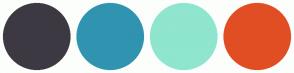 Color Scheme with #3D3942 #3094B0 #8FE5CE #E14E24