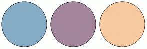 Color Scheme with #85ACC4 #A3869C #F6C9A0