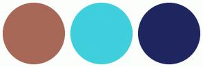 Color Scheme with #A86857 #3FCFDD #1F265F