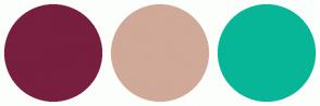Color Scheme with #781E3E #D0A998 #07B697