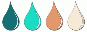 Color Scheme with #157074 #1ADDC4 #E5976C #F6EAD5