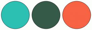 Color Scheme with #2CC0B3 #365A48 #F76343