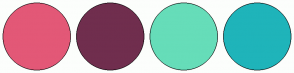 Color Scheme with #E35877 #702E4E #66DDB9 #1FB4BA