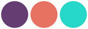 Color Scheme with #663D72 #E77261 #26D8C8