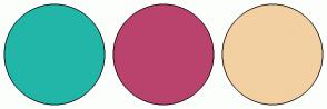 Color Scheme with #21B6A8 #BA436D #F2D0A2