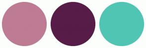 Color Scheme with #BD7C93 #571C48 #51C5B4