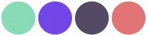 Color Scheme with #87DBB6 #7346E7 #554A65 #E17575