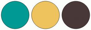Color Scheme with #009A93 #EEC35D #493838