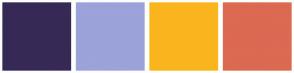 Color Scheme with #372955 #9CA2DA #FAB51E #DC6952