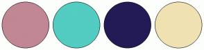 Color Scheme with #C18794 #53CCC2 #231B56 #F0E1B2