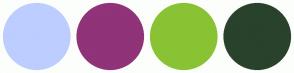Color Scheme with #BDCDFF #903379 #89C334 #29422B
