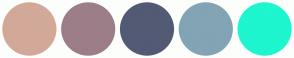 Color Scheme with #D2A998 #9C7E88 #535A74 #82A4B4 #1DF6CF