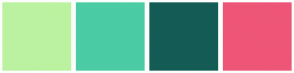Color Scheme with #BBF2A0 #4BCCA4 #145C55 #EE5677
