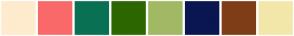 Color Scheme with #FFEBCD #FA6969 #097054 #2C6700 #A2B964 #0A1650 #7F3D17 #F3E7A9
