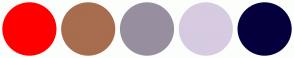 Color Scheme with #FF0000 #A76D4E #978F9F #D6CBE1 #05003D