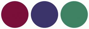 Color Scheme with #7A0F3A #3A346B #3D8263