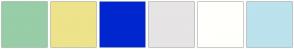 Color Scheme with #97CDA7 #EDE38A #0026CF #E6E4E4 #FFFFFC #BBE2ED