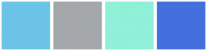 Color Scheme with #6BC4E8 #A4A8AB #90F0D8 #4370DE