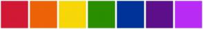 Color Scheme with #D11935 #ED6307 #F7D708 #298F00 #003399 #5E0F8B #B92CF5