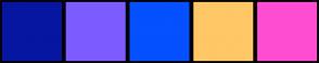 Color Scheme with #0616A1 #7C5CFF #0550FF #FFC766 #FF4DD2