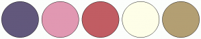 Color Scheme with #62587C #E198B2 #C15D63 #FEFEE8 #B39F73
