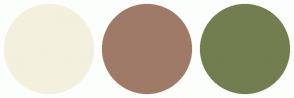 Color Scheme with #F3F0DE #A07A68 #727E4F