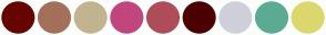 Color Scheme with #660401 #A4705A #C2B491 #C1467D #AF4D5A #4C0002 #D0D0DC #5BAB92 #DBD86D