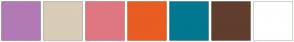 Color Scheme with #B27AB5 #D9CCB9 #DF7782 #E95D22 #017890 #613D2D #FFFFFF
