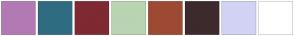 Color Scheme with #B27AB5 #2F6C81 #7F2932 #B9D4B1 #9E4934 #3D2A2C #D1D3F4 #FFFFFF