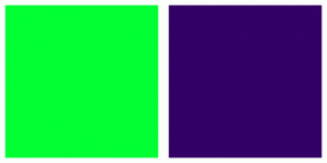 Color Scheme with #00FF33 #330066