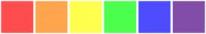 Color Scheme with #FF4D4D #FFA54D #FFFF4D #4DFF4D #4D4DFF #814DA8