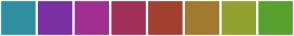 Color Scheme with #2F8FA1 #792FA1 #A12F90 #A12F57 #A1402F #A1792F #90A12F #57A12F