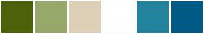 Color Scheme with #4C6208 #96A96B #DED0B7 #FFFFFF #22839D #005A86