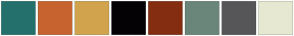 Color Scheme with #24706C #C7632E #D1A34D #050205 #852D10 #6A857A #565659 #E6E8D1