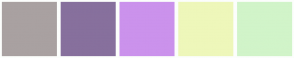 Color Scheme with #A9A1A1 #87709D #CB92EC #EEF7BA #D1F4C9